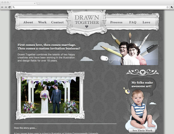 Drawn Together custom invitation web site